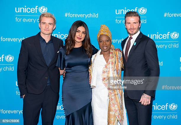 Orlando Bloom Priyanka Chopra Angelique Kidjo and David Beckham attend UNICEF's 70th anniversary event at United Nations Headquarters on December 12...