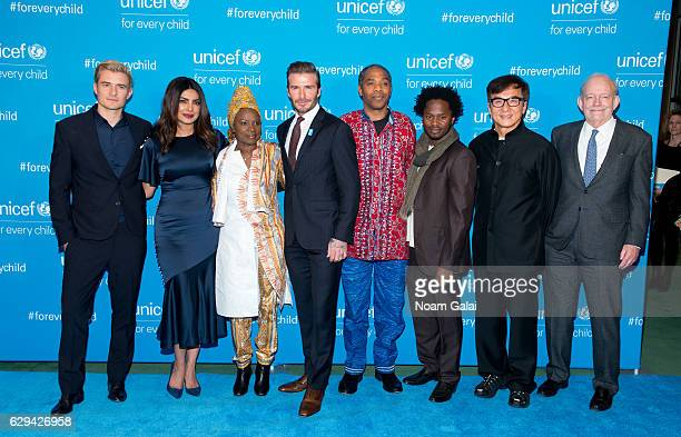 Orlando Bloom Priyanka Chopra Angelique Kidjo David Beckham Femi Kuti Ishmael Beah Jackie Chan and Anthony Lake attend UNICEF's 70th anniversary...