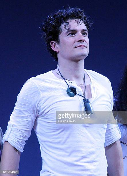 Orlando Bloom takes his opening night curtain call in 'Shakespeare's Romeo And Juliet' on Broadway at The Richard Rogers Theater on September 19 2013...