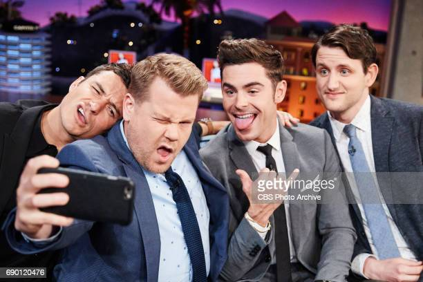 Orlando Bloom Zac Efron and Zach Woods chat with James Corden during The Late Late Show with James Corden Thursday May 25 2017 On The CBS Television...