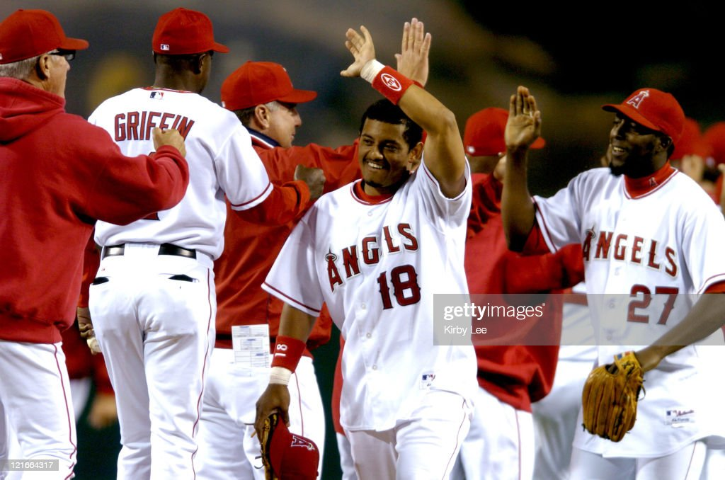 Orlando Cabrera (18) and Vladimir Guerrero (27) of the Los Angeles Angels of Anaheim celebrate their 2-0 victory over the Cleveland Indians at Angel Stadium in Anaheim, California on Wednesday, April 20, 2005.