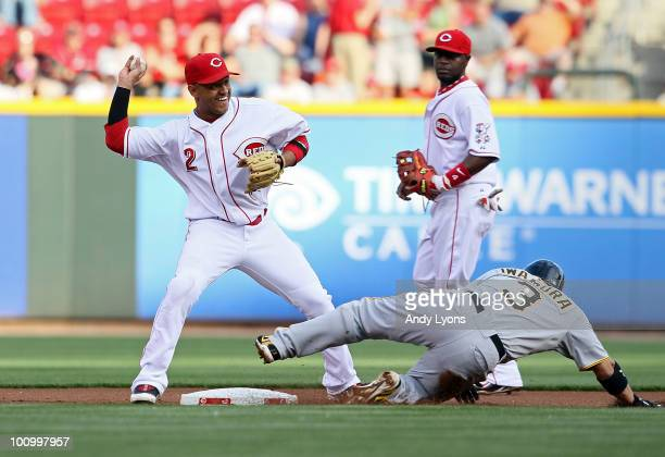 Orlando Cabrera of the Cincinnati Reds throws to first base to complete a double play while Akinori Iwamura of the Pittsburgh Pirates is forced out...