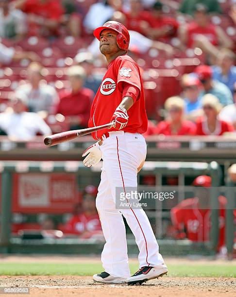 Orlando Cabrera of the Cincinnati Reds watches the game winning home run leave the field in the 10th inning against the New York Mets on May 5 2010...