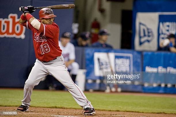 Orlando Cabrera of the Los Angeles Angels bats in a game against the Minnesota Twins at the Humphrey Metrodome in Minneapolis Minnesota on July 22...