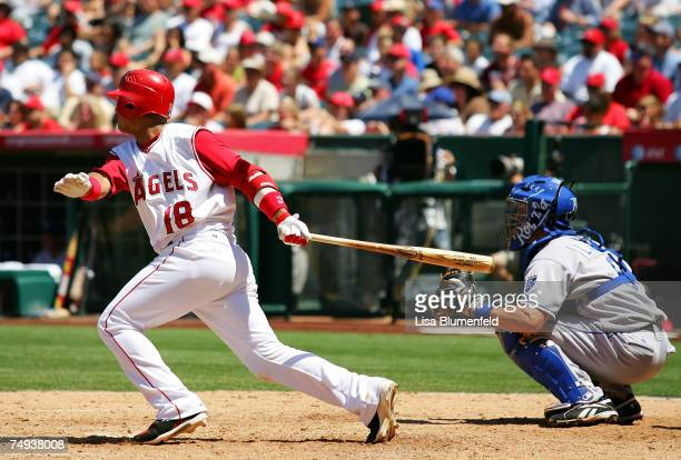 Orlando Cabrera of the Los Angeles Angels of Anaheim hits a single in the sixth inning against the Kansas City Royals on June 27, 2007 at Angels...