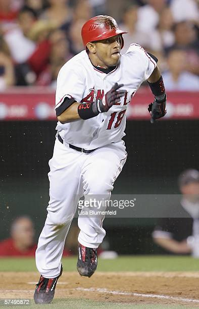 Orlando Cabrera of the Los Angeles Angels of Anaheim hits an RBI double in the 6th inning against the Chicago White Sox on April 29 2006 at Angel...