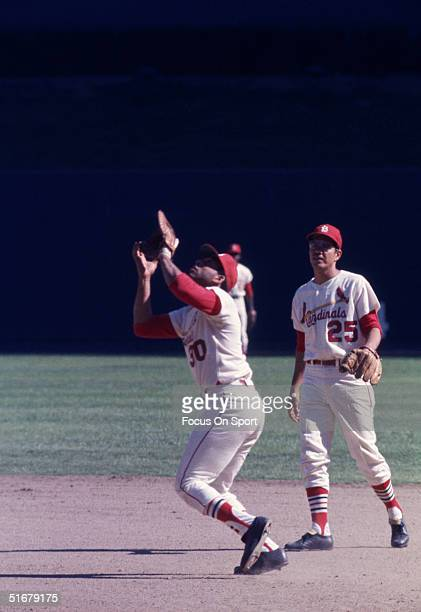 Orlando Cepeda first baseman for the St. Louis Cardinals about to catch a popup at the World Series against the Detroit Tigers at Busch Stadium on...