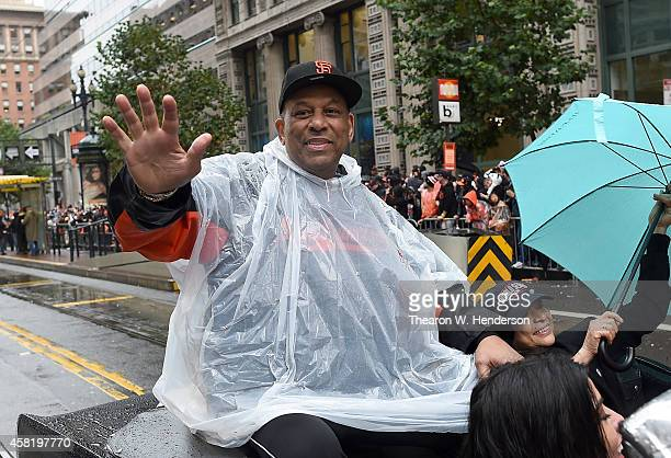 Orlando Cepeda former San Francisco Giants great waves to the crowd along the parade route during the San Francisco Giants World Series victory...