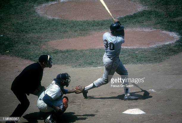 Orlando Cepeda of the San Francisco Giants bats against New York Mets during a Major League Baseball game circa 1964 at Shea Stadium in the Queens...