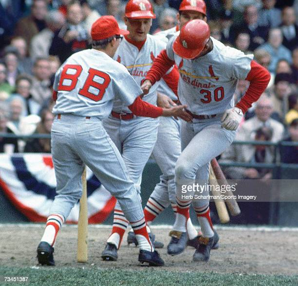 Orlando Cepeda of the St Louis Cardinals after hitting a home run in game 3 of the 1968 World Series against the Detroit Tigers on October 5 1968 in...