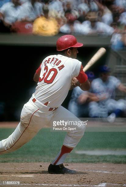 Orlando Cepeda of the St Louis Cardinals bats against New York Mets during a Major League Baseball game circa 1967 at Busch Stadium in St Louis...