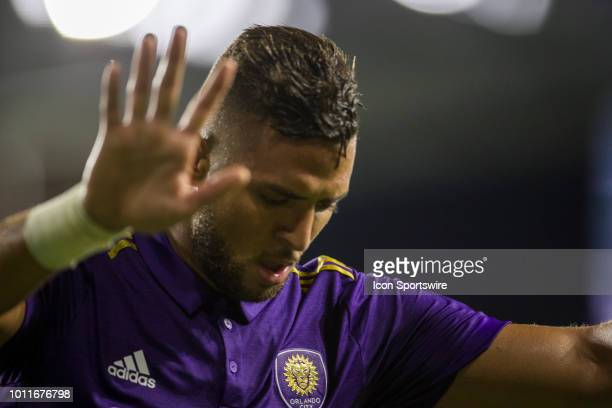 Orlando City defender Amro Tarek after scoring a goal during the soccer match between the Orlando City Lions and the New England Revolution on August...