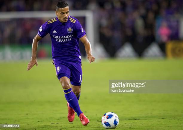 Orlando City defender Mohamed ElMunir brings the ball up field during the MLS Soccer match between Orlando City SC and Minnesota United FC on March...
