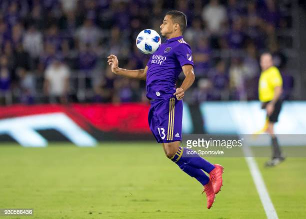Orlando City defender Mohamed ElMunir chest traps the ball during the MLS Soccer match between Orlando City SC and Minnesota United FC on March 10th...