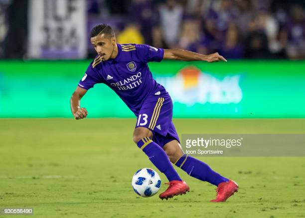 Orlando City defender Mohamed ElMunir drives the ball up field during the MLS Soccer match between Orlando City SC and Minnesota United FC on March...