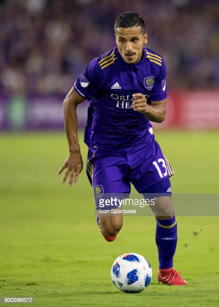 Orlando City defender Mohamed ElMunir looks to pass during the MLS Soccer match between Orlando City SC and Minnesota United FC on March 10th 2018 at...