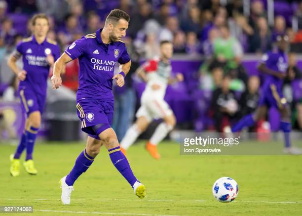 Orlando City defender RJ Allen passes the ball during the MLS soccer match between the Orlando City SC and DC United on March 3rd 2018 at Orlando...