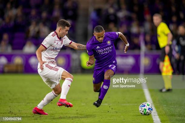 Orlando City defender Robinho controls the ball down the sideline during the soccer match between Real Salt Lake and Orlando City SC on February 29...