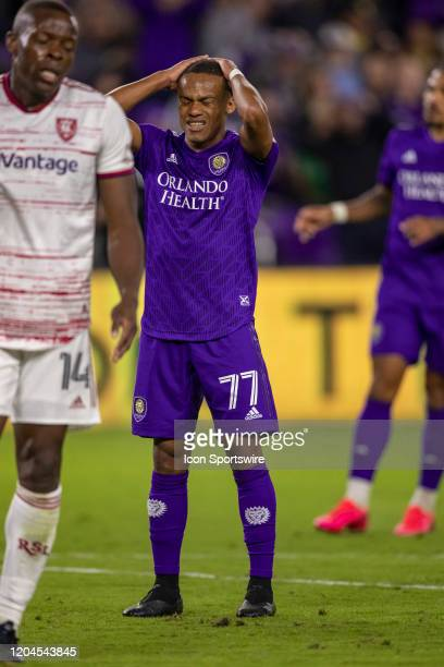 Orlando City defender Robinho reacts after missing a shot on goal during the soccer match between Real Salt Lake and Orlando City SC on February 29...