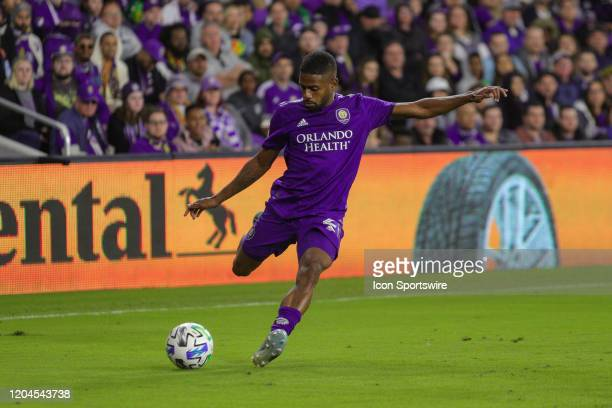 Orlando City defender Ruan kicks the ball during the soccer match between Real Salt Lake and Orlando City SC on February 29 at Exploria Stadium in...