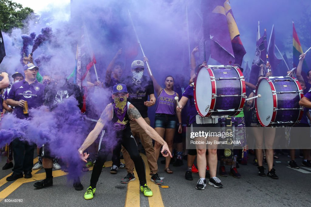 Orlando City fans march pre match prior to the MLS match between Atlanta United and Orlando City at Orlando City Stadium on July 21, 2017 in Orlando, Florida.
