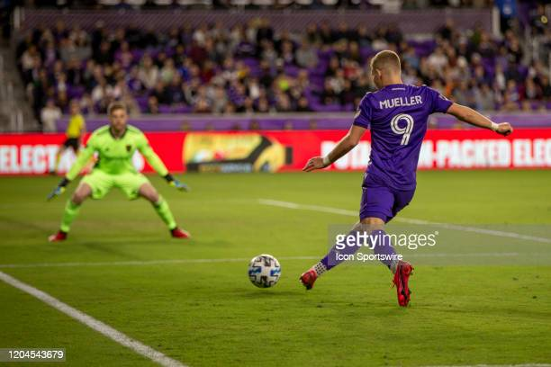 Orlando City forward Chris Mueller takes a shot on goal during the soccer match between Real Salt Lake and Orlando City SC on February 29 at Exploria...