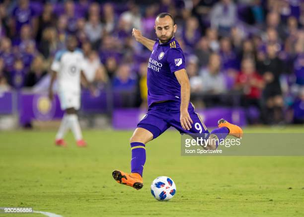 Orlando City forward Justin Meram shoots on goal during the MLS Soccer match between Orlando City SC and Minnesota United FC on March 10th 2018 at...