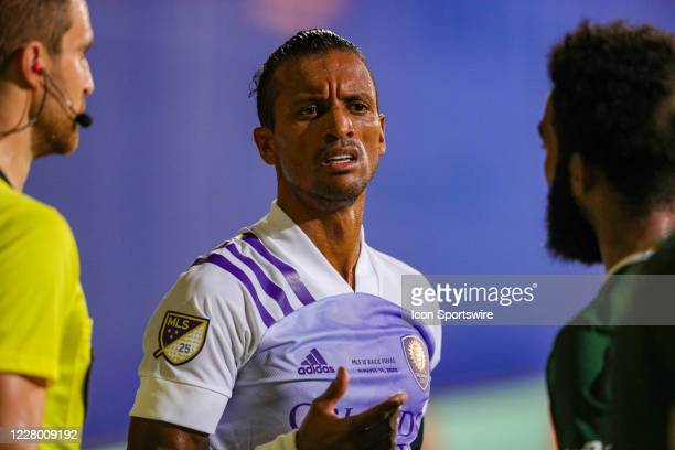 Orlando City forward Nani argues a call during the MLS is Back Final between the Orlando City Lions and the Portland Timbers on August 11 at the ESPN...