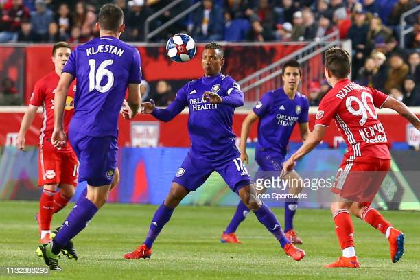 Orlando City forward Nani controls the ball during the first half of the Major League Soccer game between the York Red Bulls and Orlando City on...