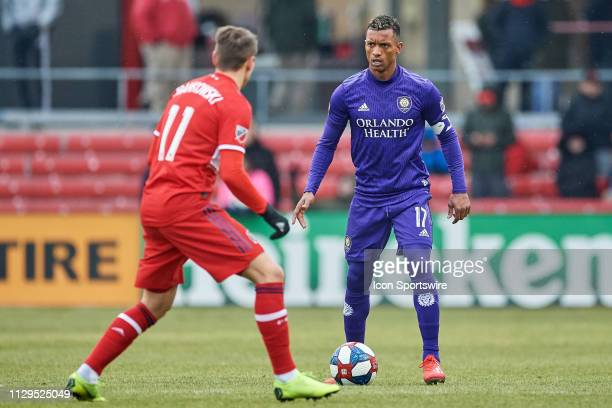 Orlando City forward Nani dribbles the ball in action during a MLS match between the Chicago Fire and Orlando City on March 09 2019 at SeatGeek...