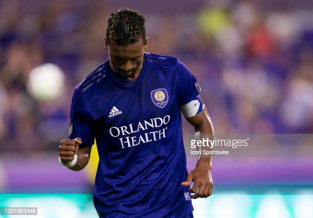 Orlando City forward Nani scores a goal during the MLS Preseason soccer match between the Orlando City SC and KR Reykjavik on February 18 at Explorer...