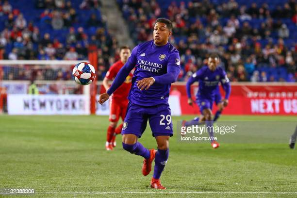 Orlando City forward Santiago Patino controls the ball during the first half of the Major League Soccer game between the York Red Bulls and Orlando...