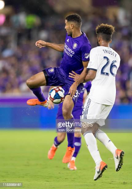 Orlando City forward Tesho Akindele makes a back heel pass during the MLS soccer match between the Orlando City SC and Philadelphia Union on July 3...
