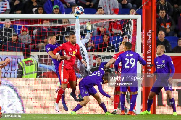 Orlando City goalkeeper Brian Rowe makes a save during the first half of the Major League Soccer game between the York Red Bulls and Orlando City on...