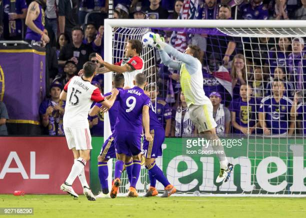 Orlando City goalkeeper Joseph Bendik makes a corner kick save during the MLS soccer match between the Orlando City SC and DC United on March 3rd...