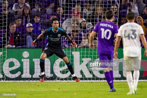 Orlando City goalkeeper Pedro Gallese prepares to stop a shot on goal during the soccer match between Real Salt Lake and Orlando City SC on February...