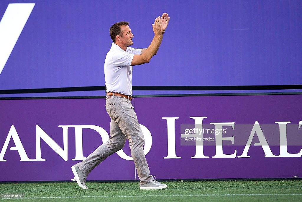 Orlando City head coach Jason Kreis is seen during a MLS soccer match at Camping World Stadium on July 31, 2016 in Orlando, Florida.