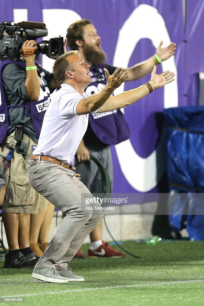 Orlando City head coach Jason Kreis is seen on the sideline during a MLS soccer match at Camping World Stadium on July 31, 2016 in Orlando, Florida.