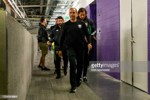 Orlando City head coach Óscar Pareja walks out of the locker room before the soccer match between Real Salt Lake and Orlando City SC on February 29...