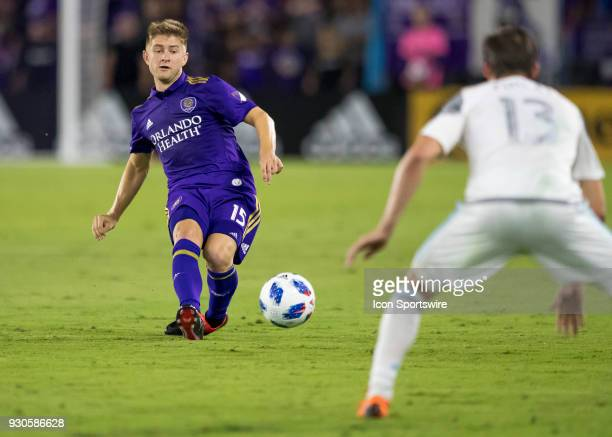 Orlando City midfielder Cameron Lindley passes the ball during the MLS Soccer match between Orlando City SC and Minnesota United FC on March 10th...