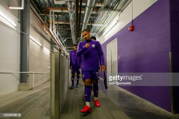 Orlando City midfielder Júnior Urso walks out of the locker room before the soccer match between Real Salt Lake and Orlando City SC on February 29 at...