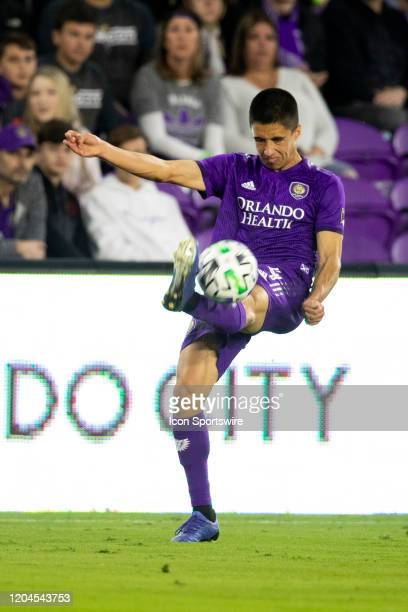 Orlando City midfielder João Moutinho kicks the ball during the soccer match between Real Salt Lake and Orlando City SC on February 29 at Exploria...