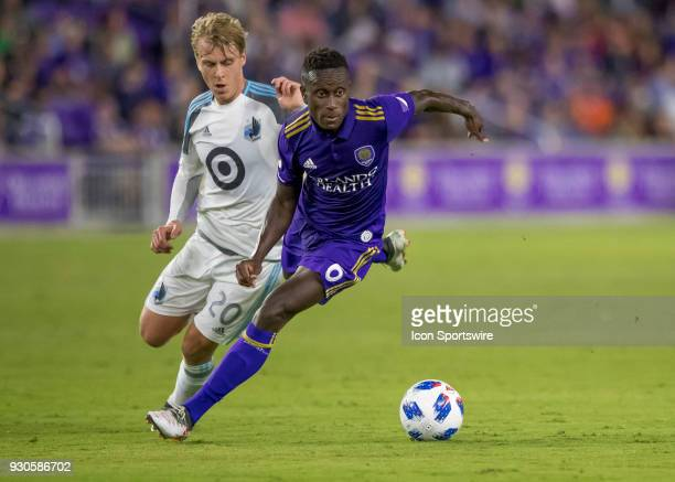 Orlando City midfielder Richie Laryea looks to make a pass during the MLS Soccer match between Orlando City SC and Minnesota United FC on March 10th...