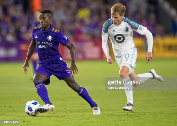 Orlando City midfielder Richie Laryea looks to make a shot on goal during the MLS Soccer match between Orlando City SC and Minnesota United FC on...