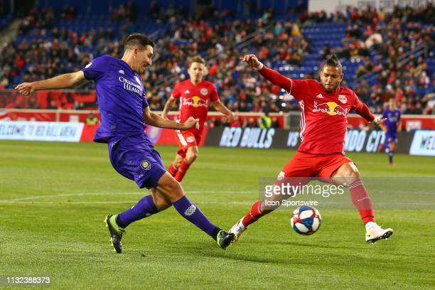 Orlando City midfielder Sacha Kljestan shoots during the first half of the Major League Soccer game between the York Red Bulls and Orlando City on...