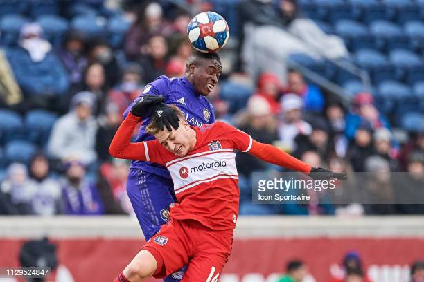 Orlando City midfielder Sebas Mendez battles with Chicago Fire midfielder Djordje Mihailovic in action during a MLS match between the Chicago Fire...