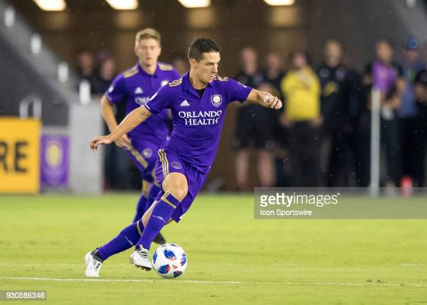 Orlando City midfielder Will Johnson looks to pass during the MLS Soccer match between Orlando City SC and Minnesota United FC on March 10th 2018 at...