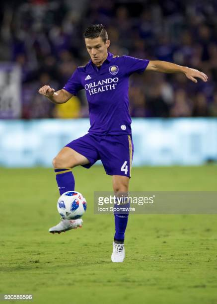 Orlando City midfielder Will Johnson traps the ball during the MLS Soccer match between Orlando City SC and Minnesota United FC on March 10th 2018 at...