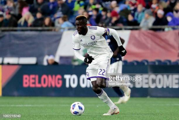 Orlando City SC defender Ludovic Lamine Sane moves the ball during a match between the New England Revolution and Orlando City SC on October 13 at...