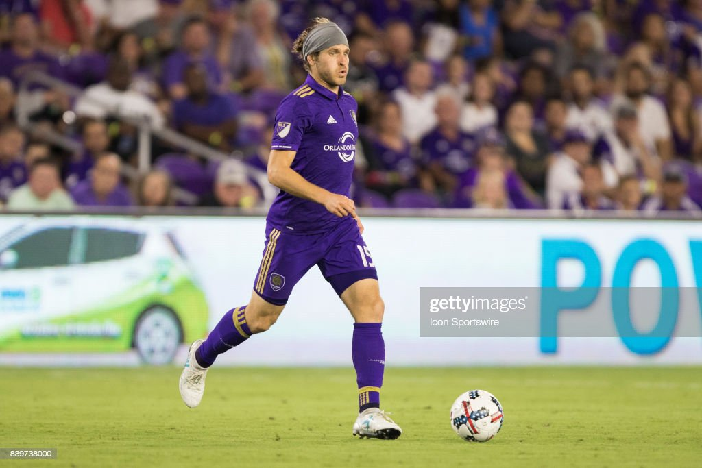 Orlando City SC midfielder Dillon Powers (15) controls the ball during the MLS soccer match between the Orlando City Lions and the Vancouver Whitecaps on August 26, 2017 at Orlando City Stadium in Orlando FL.